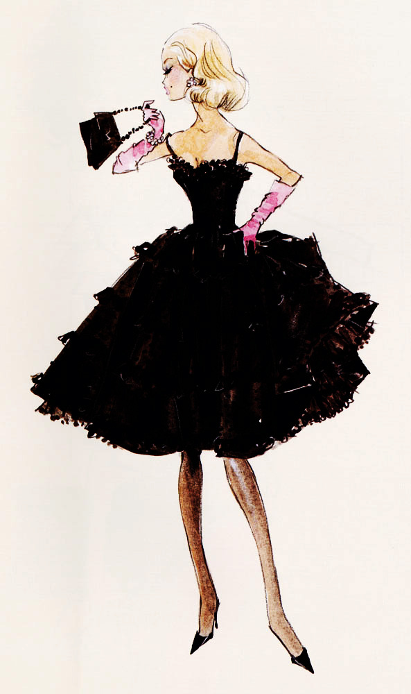 "vintagegal:  Design sketch for Barbie fashion ""Black Enchantment"" by Robert Best"