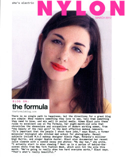 AIMEE BLAUT / THE FORMULA BLOG / FEATURED IN NYLON MAGAZINE MARCH 2012