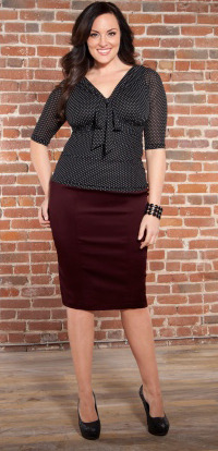 New Arrival Plus Size Paige Pencil Skirt in Merlot Sizes 0X-4X