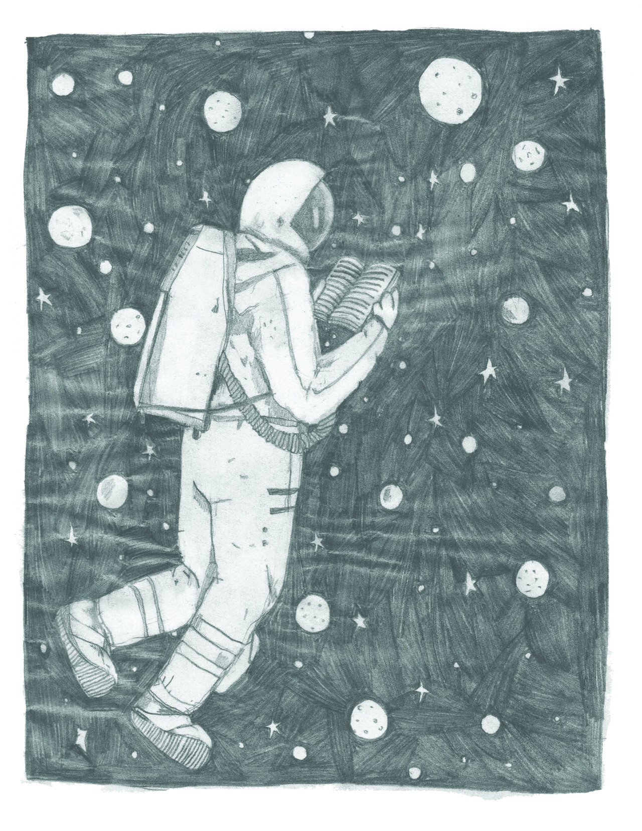 Hm ok so this is a quick draft for a story about a lonely astronaut but the paper turned all shiny and crinkly in the scanner so I won't be able to use it so I can show you guys my failure of the day. Back to work!