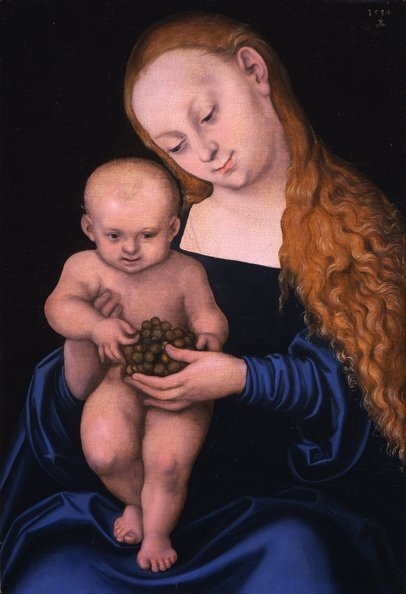 Madonna and Child with grapes by Lucas Cranach the Elder.