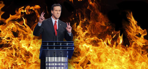 "… Rick Santorum will require we all live under Catholic sharia law one day - Rick Santorum is very confused. Santorum today: The former Pennsylvania senator told about 300 people in Lavonia: ""I'm for separation of church and state. The state has no business telling the church what to do."" Santorum yesterday: I don't believe in an America where the separation of church and state is absolute. The idea that the church can have no influence or no involvement in the operation of the state is absolutely antithetical to the objectives and vision of our country."