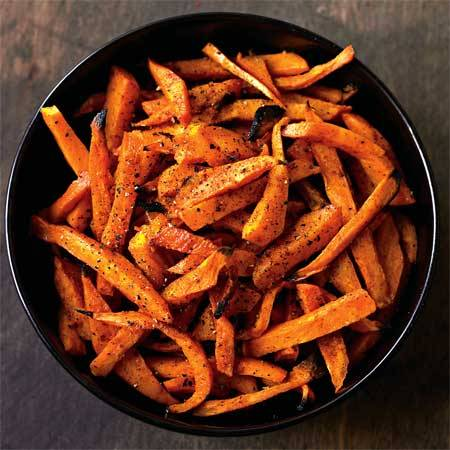 healthyfitandskinny:  10 Healthy Sweet Potato Recipes! For a humble root vegetable, the sweet potato sure does have a lot going for it. The orange tuber packs 438% of your daily value of infection-fighting vitamin A and, like carrots, sweet potatoes are a major source of skin-protecting beta-carotene. While bananas are often touted as the go-to source of potassium, a medium sweet potato has 28% more potassium than a banana. (The mineral helps your body absorb fluids to replace sweat losses.) Whether sweet potatoes only enter your kitchen on Thanksgiving or they have a regular spot in your cooking rotation, you could probably use more delicious ways to prepare them. Here are 10 recipes for dishes from fries to soup—each with about 300 calories or less. Spicy Sweet Potato Fries Roasted Sweet Potato Salad Gingered Sweet Potato and Carrot Soup Spiced Sweet Potato Chips Baked Sweet Potato Latkes Rosemary Sweet Potato Wedges Chili-Spiced Mashed Sweet Potatoes Apple and Sweet Potato Hash Browns Ginger Sweet Potato Cheesecake Marshmallow Whipped Sweet Potatoes