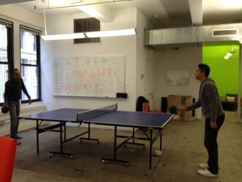 Sonny and Mo at Bundle HQ taking a quick break for a re-energizing game of ping pong!