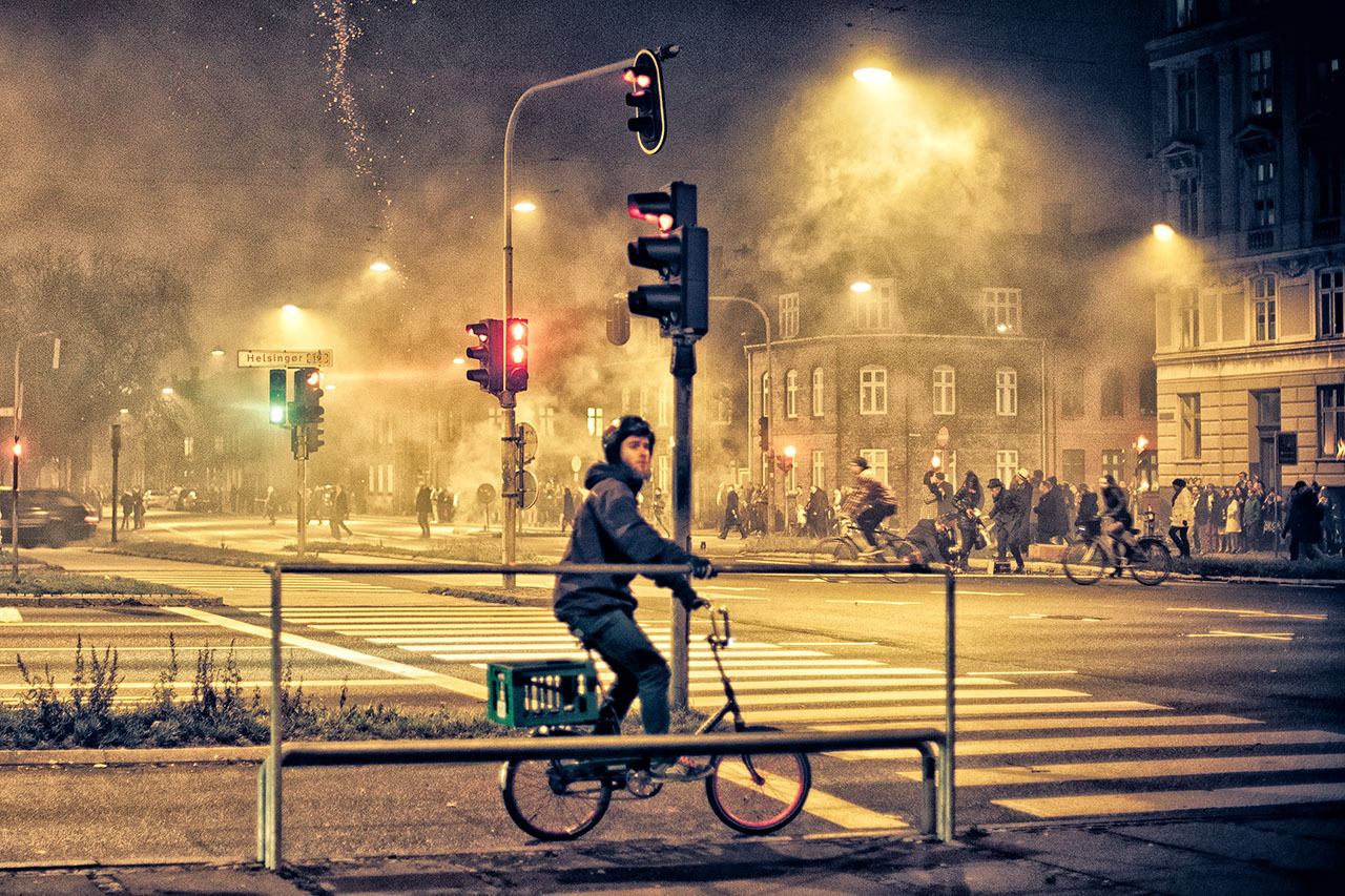 New Years celebrations in the streets of Copenhagen on Flickr. Via Flickr: Don't know why I brought my camera into the fray of drunk people throwing fireworks everywhere, especially since most the photos were bound to end up shit. This one I quite like though.