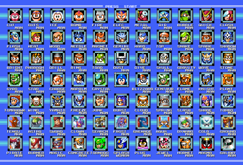 luisfe-spoke:  Todos los jefes hasta el megaman 9 !All the bosses until megaman 9 !