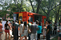 Why We Need Food Trucks in a Recession A new proposed bill in California mandates that food trucks be barred from parking within 1,500 feet of public schools. Food trucks have been battling city and state governments across the country, from Boston to the Twin Cities to New York City. But these food trucks are softening the blow of our economic reality, in which food prices have risen, our time for lunch has shrunk, and the opportunities of entrepreneurs have been dampened by skittish banks and unpredictable outcomes.  Read the story on GOOD→
