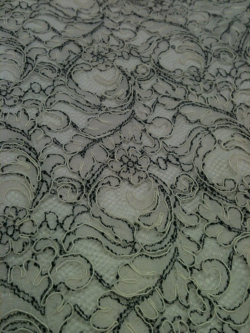 Black and white lace fabric