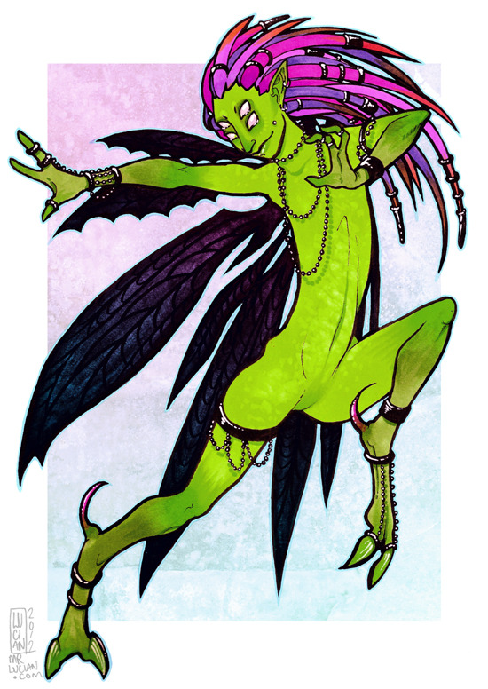 Pixie.  Future print. Photoshop 7 and markers.  February 2012.