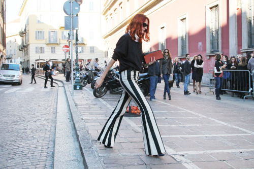 Taylor Tomasi Hill in Céline pants (via Fashion Editor Street Style: Milan Fashion Week Fall 2012 (Forum Buzz))