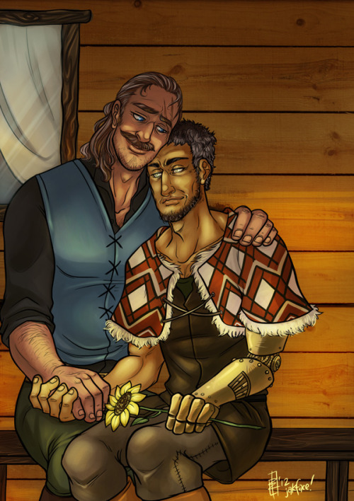 This is an exchange picture for Pariah, of her two older Grey Wardens Rowe and Lox. This was super fun to do, I wanted them to be lazing about on the ol' front porch during a sunset. <3  Lox is blind, which I find fascinating, and Rowe has some badass scars and 'stache happening. Drawing these two was an utter delight!
