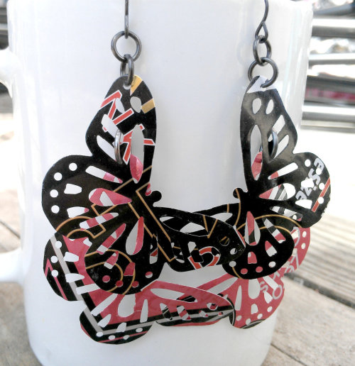 Upcycled Soda Can Butterfly Pink And Black Earrings. http://www.AbsoluteJewelry.etsy.com