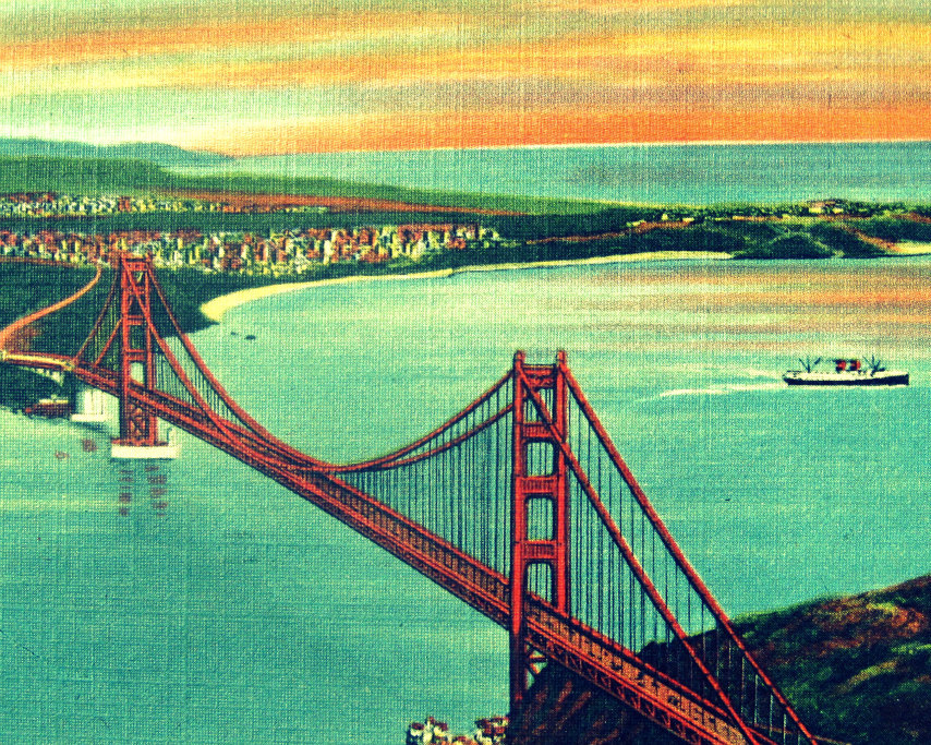 San Francisco Golden Gate Bridge Photo Vintage Art Print by VintageBeach
