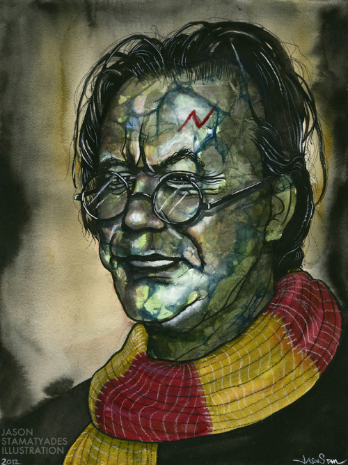 "Yes, Mickey Rourke secretly LARP's Harry Potter. Mixed media on paper.  12 x 16"".By Jason Stamatyades Follow my artist page on Facebook here!"