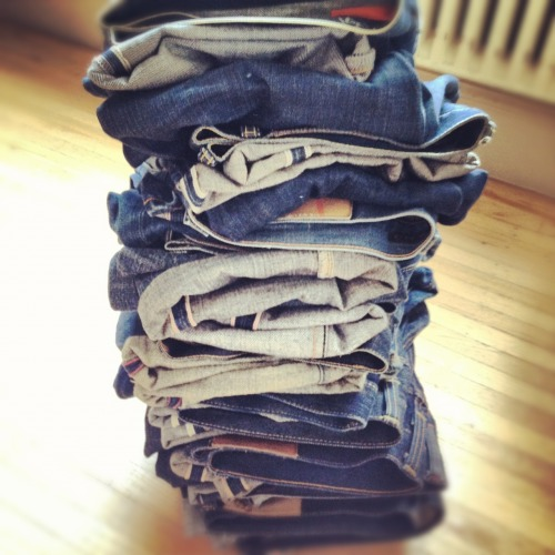 Denim stack.