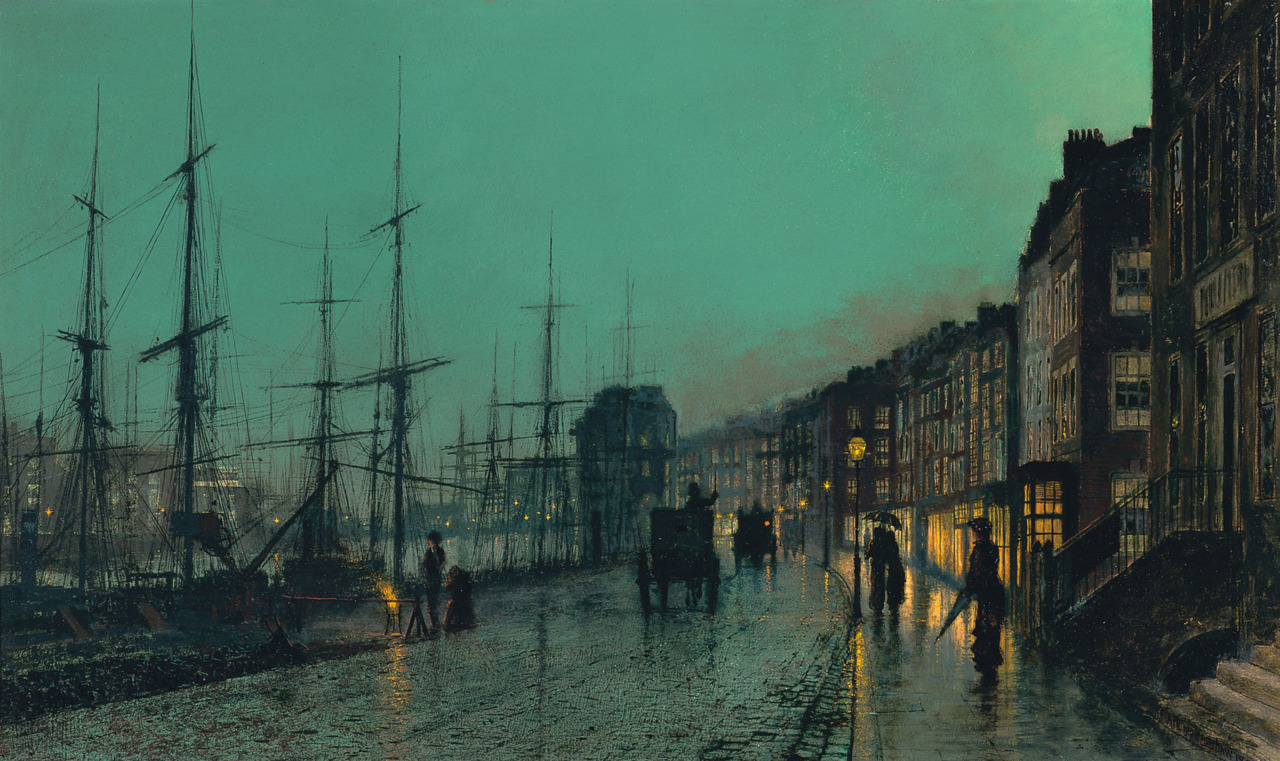 Nightfall on the Thames (1880), Oil on board | artwork by John Atkinson Grimshaw