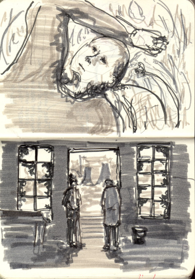Day 27. Doodle part 2. Sort-of remembered scenes from Stalker, which I went to see with a friend yesterday at the GFT. It was brilliant. (But not a film to see when you are verrry tired in the sold-out GFT.)