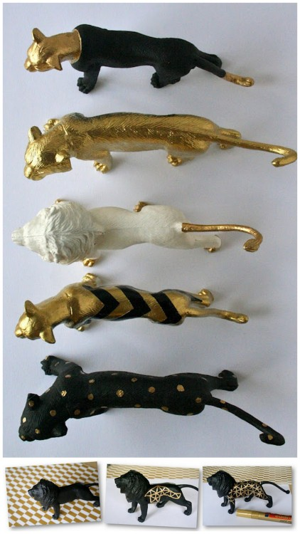 truebluemeandyou:  truebluemeandyou: DIY Gold Patterned Animals. Love these so much.  DIY Gold Patterned Animals. Plastic Animals - my favorite things (see all my posts on altering plastic animals here). Tutorial at heodeza here. *Really great photos of this project at the link.