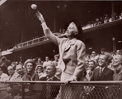poetrysociety:  Baseball Season: Marianne Moore throwing out the first pitch 1968.