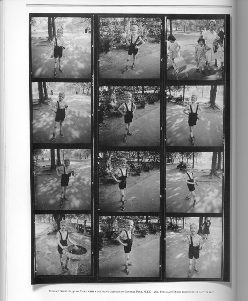 Contact sheet of Diane Arbus' iconic portrait of 'Child with Toy Hand Grenade in Central Park (1962)'