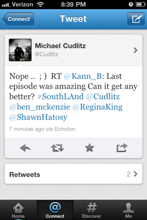 SouthLAnd tweet from Michael Cudlitz. =) Now ready for tonight's new episode!