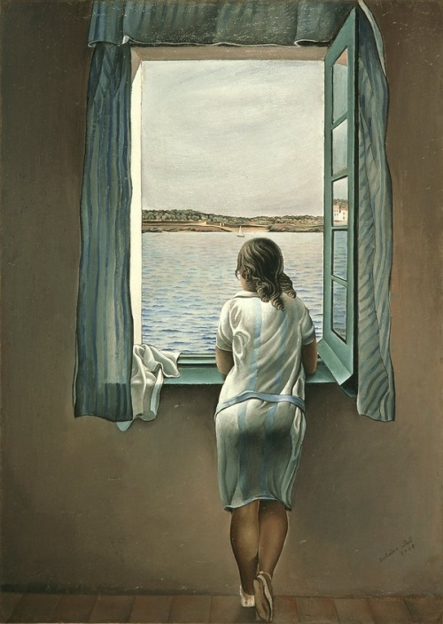 slowlydrifting:  Salvador Dali: Woman at the window
