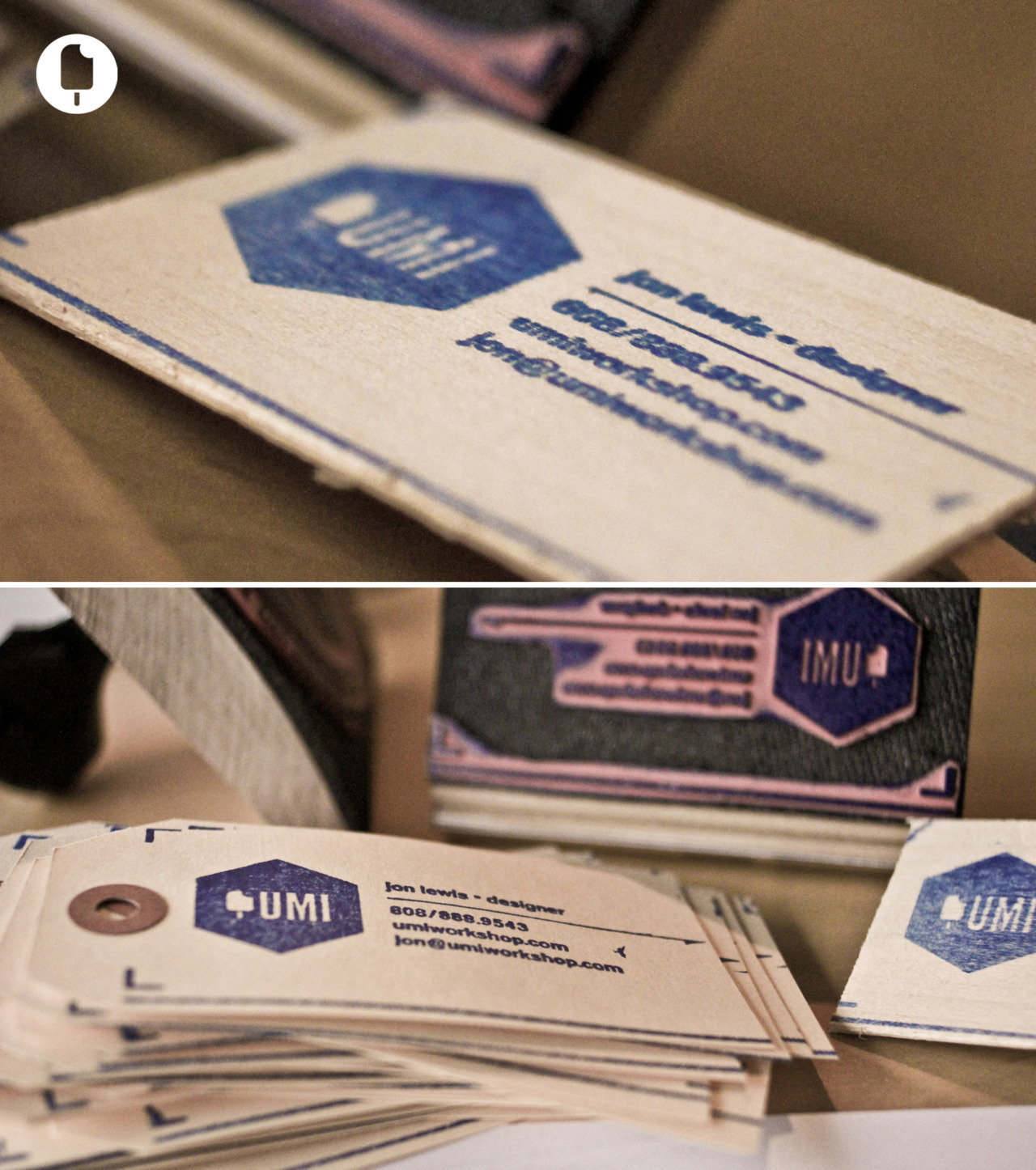 WOODEN BUSINESS CARDS Custom stamps pressed onto balsa wood. Designed by UMI Workshop