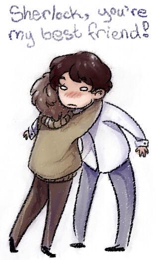 How Sherlock lost his hug virginity.  (Just doodling more kid Sherlock/John as I toil away at this animation…ugh. Patience wearing thin.)