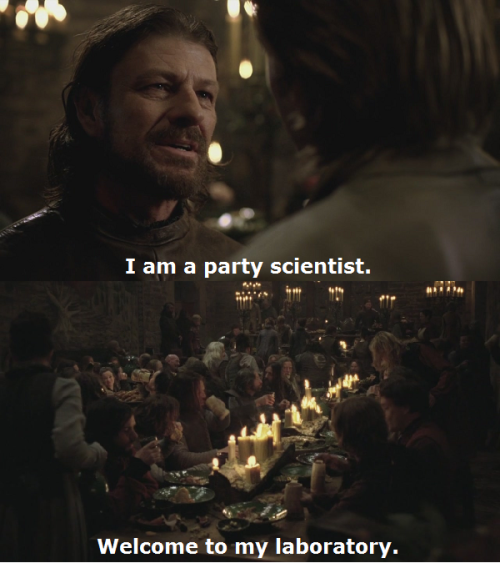Tom: I am a party scientist. Welcome to my laboratory.  End of the World - Episode 4.6