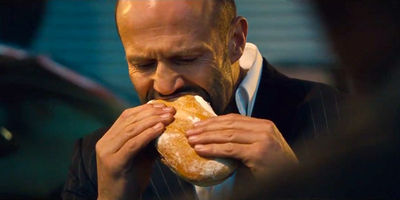 Jason Statham having a sandwich… from the latest TV trailer for Boaz Yakin's Safe, starring Statham.