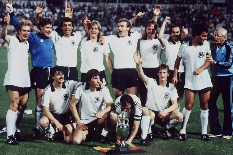West Germany's 1980 European Championship winning side.  They beat Belgium 2-1 in the final.  That team consisted of Harald Schumaner, Manfred Kalz, Uli Stielike, Karlheinz Förster, Bernard Dietz, Bernd Schuster, Hans-Peter Briegel, Bernhard Cullmann, Hansi Müller, Karl-Heinz Rummenigge, Horst Hrubesch and Klaus Allofs