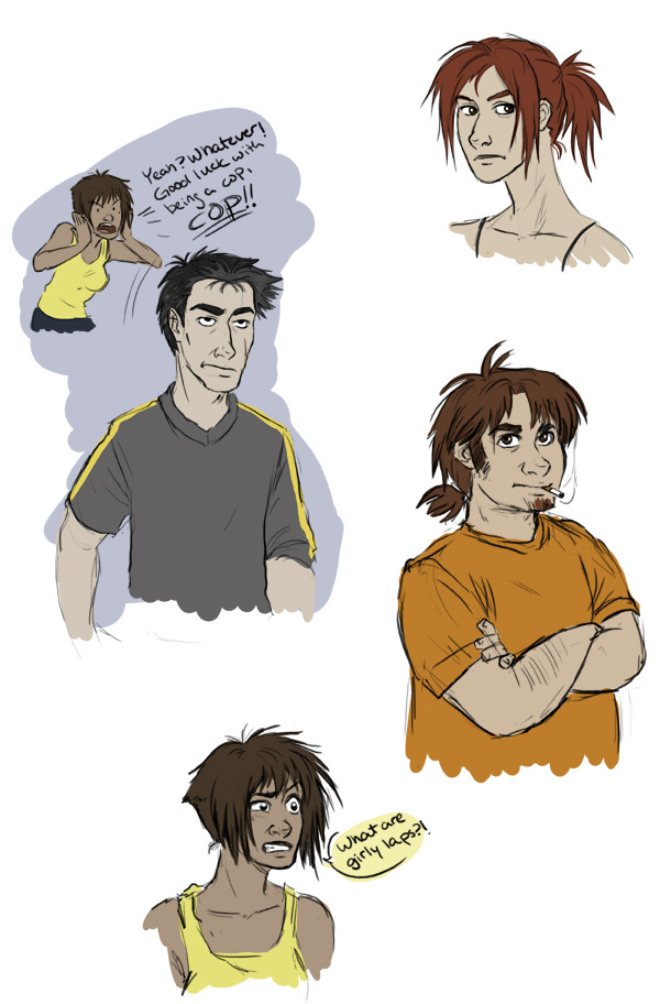 I should've been working on a paper, but instead, I drew RvB doodles! Hooray! I recently got some nifty pencil brushes for Photoshop and had to try them out. So, here we have the brother and sister Grif, Wash, and Tex. I imagine that Wash, while around the same age as most of the other freelancers, looks quite a bit older, hence the premature graying of his hair. He's been through some stuff, man. I've almost always pictured Tex as being a ponytailed redhead, so I was thrown for a loop when I saw that Carolina pretty much looks just like my Tex headcanon. Boo!