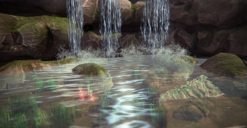 Created a water/waterfall shader. Looks a bunch better in motion.  Rendered in UDK.