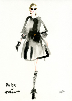 """Dolce & Gabbana FALL 2012 READY-TO-WEAR"" This illustration was made by Miyuki Ohashi, a Japanese fashion illustrator."