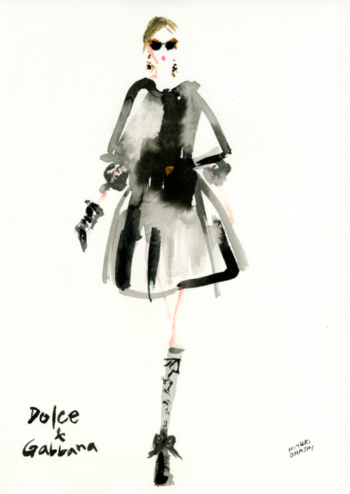 "dolcegabbana:  ""Dolce & Gabbana FALL 2012 READY-TO-WEAR"" This illustration was made by Miyuki Ohashi, a Japanese fashion illustrator.  Truly La Dolce Vita!"