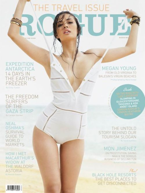 Megan Young is the cover girl for Rogue's March 2012 issue