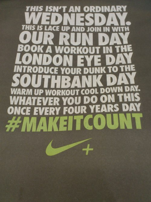 This is London: Make it count, Nike. Backcover of the Metro 29.02.12