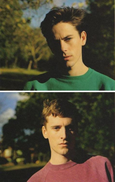 Jeremy Young, & George Barnett; Photographed by; Alasdair McLellan; i-D Magazine, Pre-Spring 2012, with love.