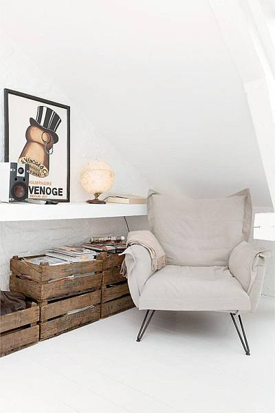 Source: Nordic Bliss White floors, old wooden crates, an odd yet cosy chair. Fine by me.