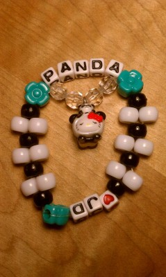Panda kandi for my panda lovin' friend.  I'll give it to her for her bday celebration at EDC Las Vegas.  Yes… I'm early. This kandi was inspired by the two tiered kandis made by @1thousandcranes.  Check out her kandi!