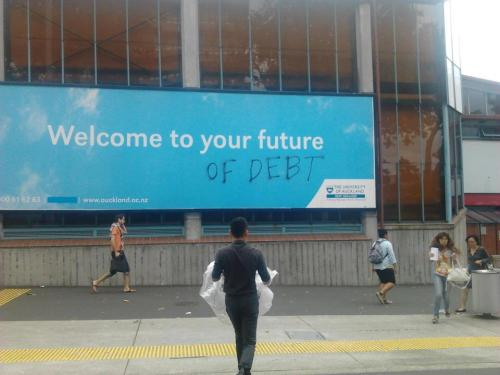 hahhahaaaa sooo this was up at the university of auckland today; new year starting —- student debt though, so crippling :/