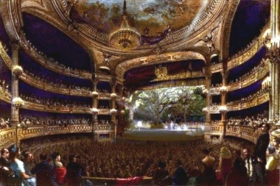 A painting of an Opera Theatre.
