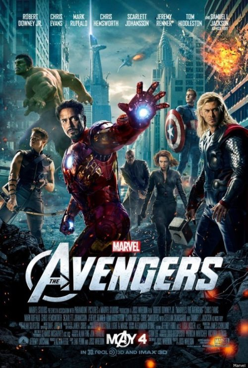 "New #Avengers #Movie #Poster! Such a Hollywood poster— #Hawkeye has no mask, #IronMan and #CaptainAmerica without their masks- and #Thor without his helmet. hah. At least the #Hulk made it onto this poster as opposed to Mark Ruffalo's Bruce Banner… ha. I love the bottom of the poster where it reads ""mAy 4""… always a fan of creative use of a logo! Thanks to  Simply Superheroes's Photos for the picture."