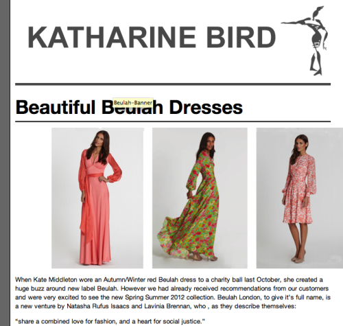 Beulah dresses arrive in Katharine Bird store, Battersea Rise….. To read more click here x