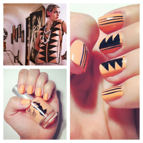 Fashion inspired nail design #1. Inspiration: Etro embellished silk top on page 521 of March Vogue Nail Polish:  Top and base coat: Sally Hansen Double Duty Strenthening Base & Top coat 2 coats of Hot Ticket Nail Polish by The Balm - Coral Reef-ined (Mine came in the Jan's myglam bag. I would never buy this color myself but I'm glad they gave it to me. It's bright, almost neon like and it's appropriate for Spring and it makes my hands looks extra tan) Designs are done using Art Club Nail Art Striper in Black  Check out the tutorial here