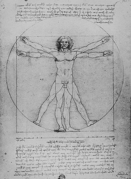 affors:  Created by Leonardo da Vinci circa 1487, The Vitruvian Man is one of his most famous works, which was made by pen and ink paper. It is based on the correlations of ideal human proportions and depicts a male figure in two superimposed positions with his arms and legs apart and simultaneously inscribed in a circle and square. It got this name because it's accompanied by notes based on the work of the famed architect, Vitruvius.