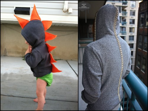 rainbowsandunicornscrafts:  DIY Little Kids' Dinosaur Hoodie and Kid of Any Age Vertebrae Hoodie. Tutorial for kids' hoodie at DIYing to be Domestic here, tutorial for vertebrae hoodie at maison des reveries here.