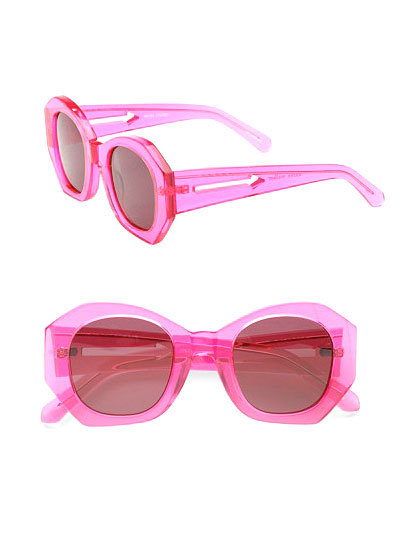 Cover your eyes in style this Spring with a pair of brightly-colored sunglasses, like these lucite pink sunnies from Karen Walker. Check out more stylish picks here »