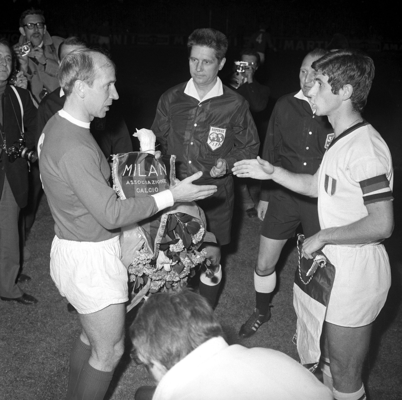 Bobby Charlton and Gianni Rivera, 1969 European Cup semifinal.