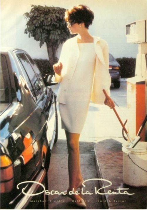 white shift dress @ the gas station.